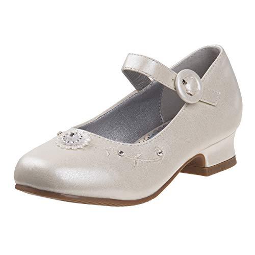 Josmo Girls Dressy Patent Low Heel Shoe with Decrotive Flower, Beige Pearl, 1 M US Little Kid']()