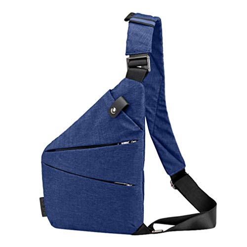 Casual Canvas Packs Bag Women Shoulder Sling Crossbody Theft Blue Men Bags Chest XqwIF7X