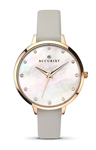 Accurist Ladies Analogue Watch With White Mother of Pearl Dial And Grey Strap 8156
