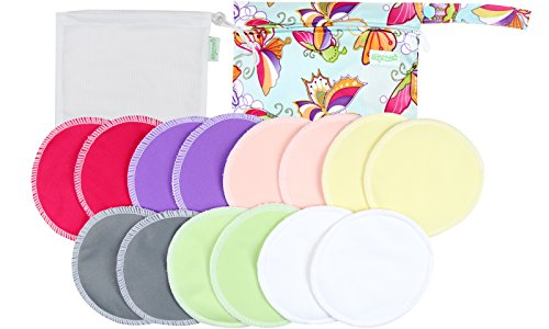 Organic Bamboo Nursing Pads (14 Pack)+Laundry Bag & Travel Bag,2 Sizes:3.9/4.7inch Option – Washable & Reusable Nursing Pads(Large,Daytime Use)