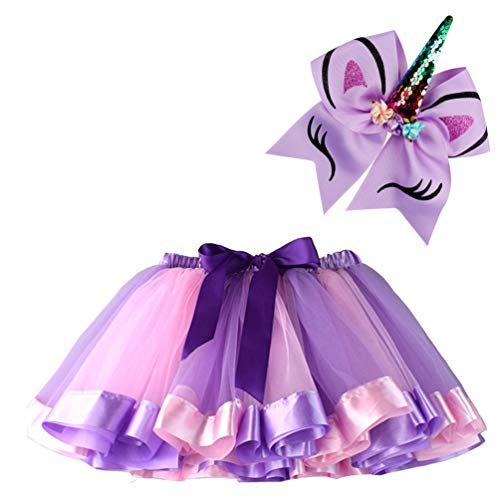 BGFKS Layered Ballet Tulle Rainbow Tutu Skirt for Little Girls Dress Up with Matching Sparkly Unicorn Hairbow (Purple, M,2-4 Years) -