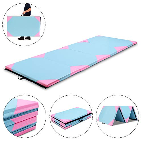 Exercise Mat 4'x10'x2 Gymnastics Folding Portable Exercise Aerobics Fitness Gym Pink & Blue with Ebook