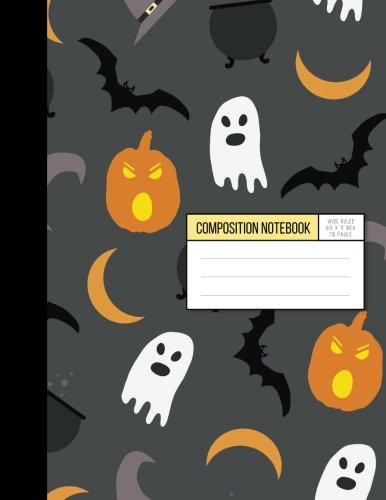 Halloween Pumpkin Ghosts And Batman Trick Or Treat Wide Ruled Inside Notebook: Composition Notebook ,8.15 x 11 Inch ,110 -