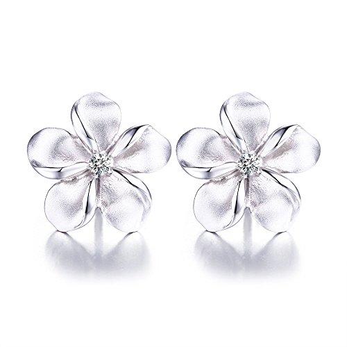 16mm Hypoallergenic 925 Silver Plumeria Flower Stud Earrings CZ Hawaiian Jewelry for Girls