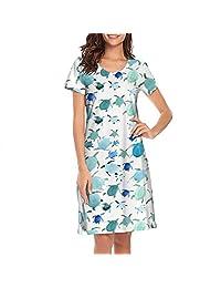 TEedhkf3 Women Girls Nightgowns Blue Hawaiian Sea Turtle Print Comfy Personalized Short Sleeve Loungewear