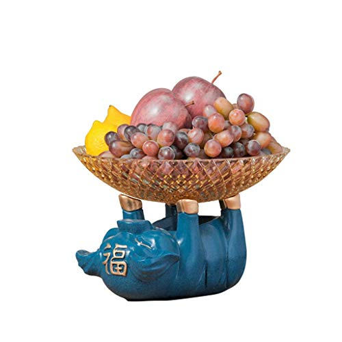 ZTMN Addin Fruit Plate, Living Room Blue Pig Snack Bowl Creative Home Table Decoration Modern Simple Candy Dish