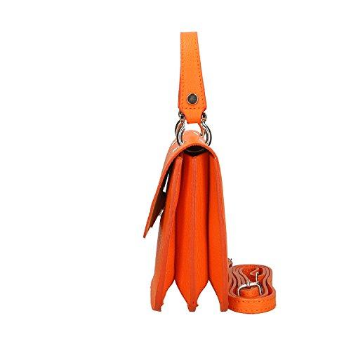 main cuir véritable en Sac en à 23x17x7 fabriqué Petit Chicca Borse Orange Femme Italie Clutch Cm wfxgqSYHF