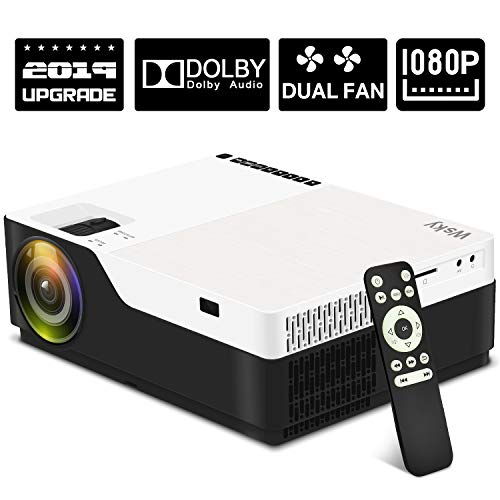 Wsky 1080P Projector, Native HD 4000Lux Home Theater- Support 1080P 1920x1080 Resolution with USB/HDMI/SD/AV Ports Ideal for Watching Movies Home Entertainment Gift Giving (Best Value 1080p Projector 2019)
