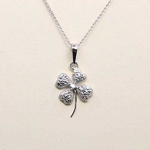 Four Leaf Clover Necklace, Dainty Diamond Pendant, Unique gold Charm Necklace for Women, 14K Solid White, Yellow, or Rose gold Necklace