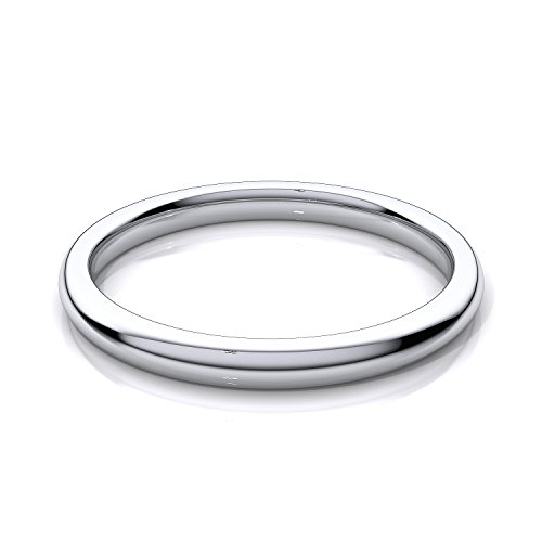 (2mm Sterling Silver High Polish Plain Dome Tarnish Resistant Comfort Fit Wedding Band Ring Sizes 5-12 (6))