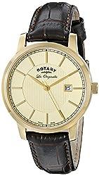 Rotary Men's gs90076/03 Analog Display Swiss Quartz Brown Watch