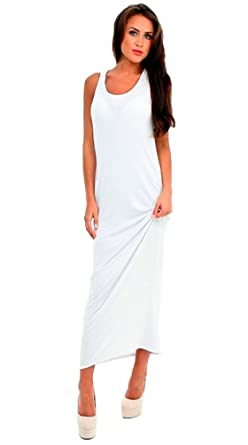 dc1b2ae262 Women Ladies Vest Racer Muscle Back Jersey Long Summer Maxi Dress Plus Size  8-18 (12, Off White): Amazon.co.uk: Clothing