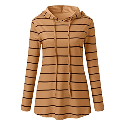 Womens Fall Fashion Casual Long Sleeve Stripe Printed Hoodie Pullover Sweatshirt Tops T-Shirt Blouse (S-2XL)