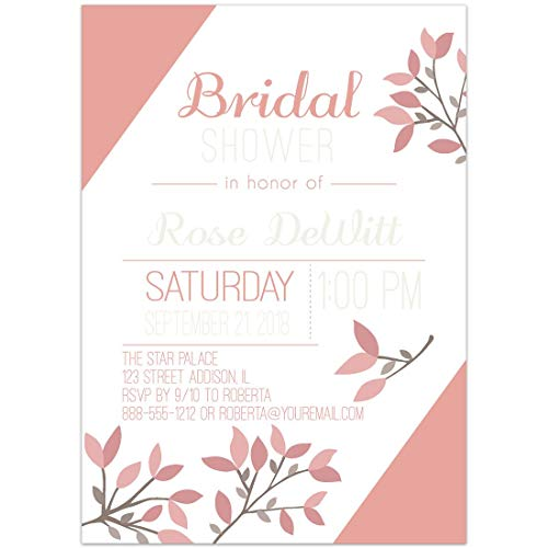 Neutral Branches Pink Brown Bridal Shower Invitations