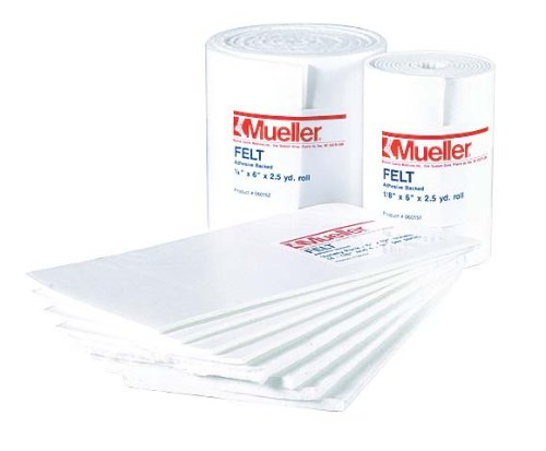 Mueller Orthopedic Felt - Adhesive backed - Variety Pack - 6'' x 12'' sheets, asst. thickness by Mueller (Image #1)
