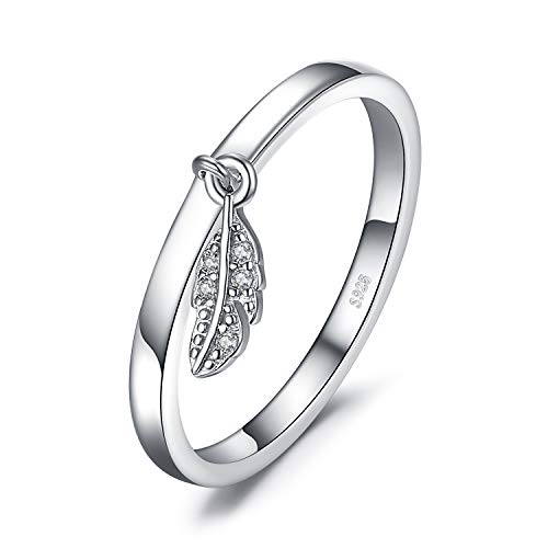 JewelryPalace 925 Sterling Silver Dangle Leaf Charm Feather Ring size 8