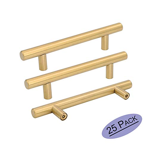 """Goldenwarm 25pcs Brushed Brass Kitchen Cabinet Hardware Handle 1/2"""" Diameter T Bar Handles Furniture Gold Door Drawer Pulls Knobs Hole Spacing 102mm 4in,6-2/5Inch Overall Length"""