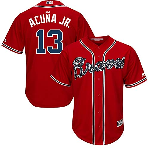 VF LSG Ronald Acuna Jr. Atlanta Braves #13 Officially Licensed Home Cool Base Player Jersey for Men Women Youth