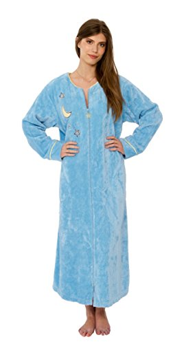 (Bath & Robes Women's Long Chenille Robe Embroidered Moon Star Sky Blue Small)