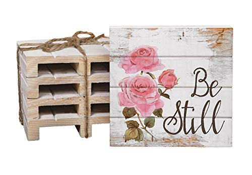 Be Still Pink Rose Floral Whitewash 4 x 4 Inch Dried Pine Wood Pallet Coaster, Pack of 4