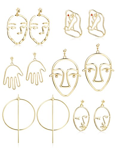 Earrings Picasso (Thunaraz 6Pairs Face Earring Geometric Modeling Dangle Hollow Face Hand Shape Statement Earrings Drop deling Dangle Hollow Face Hand Shape Drop Earring for Women Teens Girls)