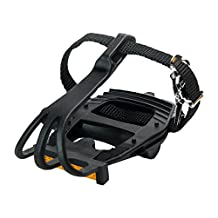 Retrospec Bicycles Classic Road Bike Pedal with Integrated Toe Cage/Clip/Strap, All Black