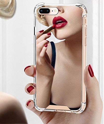 Viromo - iPhone 8 Plus/iPhone 7 Plus Mirror Cases for Girls Women - Protective Silicone Slim Case New Rubber Bumper Cool Ultra Thin Shockproof Grip Phone Case Cute Stylish Silver Back Cover