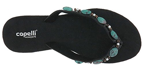 Capelli New York Faux Leather Thong with Stones Ladies Flip Flops Black Combo XfC2A9WzK