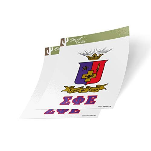 (Desert Cactus Sigma Phi Epsilon Crest & Letter 2-Pack Sticker Decal Greek for Window Laptop Computer Car sig ep (Crest Sticker))