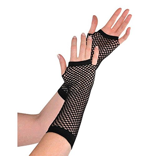 Amscan Party Perfect Team Spirit Fishnet Glove (2 Pack), Black, 13.2 x 4.7