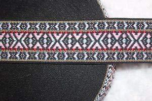 (1 Yard Reversible Black Pink Red Gray Aztec Woven Sewing Ribbon Trim 1.75