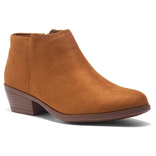 Herstyle Chatter Women's Western Ankle Bootie Closed Toe Casual Low Stacked Heel Boots Cognac 9.0