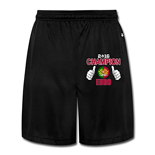 ZZYY Mens Funny 2016 Euro Portugal Win Short Sweatpants Hip Hop Black Size XL
