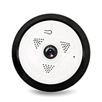 Pomiacam EC10-I6 360 Degree Panoramic Fisheye IP Camera HD 960P P2P Wireless Wifi IP Camera 1.3MP IR Night Vision Home Security Surveillance CCTV Camera System (White)