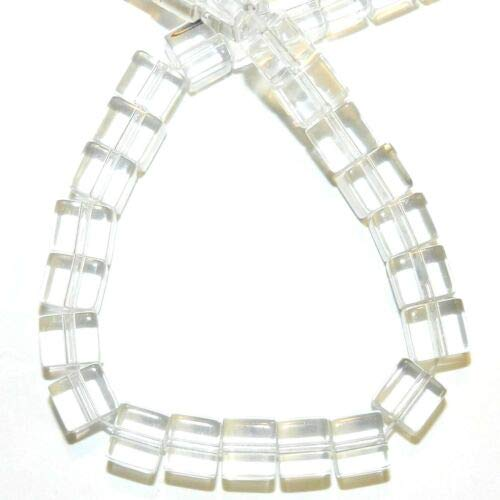 (G1353 Crystal Quartz 6mm Square Cube Reconstituted Gemstone Glass Beads 16'' Crafting Key Chain Bracelet Necklace Jewelry Accessories)