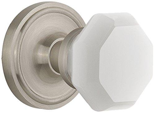 Nostalgic Warehouse 747981 Classic Rosette Waldorf White Milk Glass Knob, Passage-Backset Size: 2.375