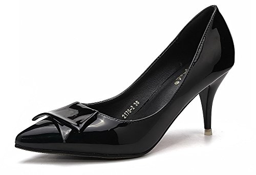AalarDom Women's Kitten-Heels Soft Material Pointed-Toe Pumps-Shoes with Bowknot
