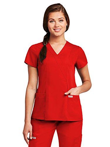 Grey's Anatomy Women's 41101 2 Pocket Mock Wrap Scrub Top- Scarlet Red- (Greys Anatomy 2 Pocket)