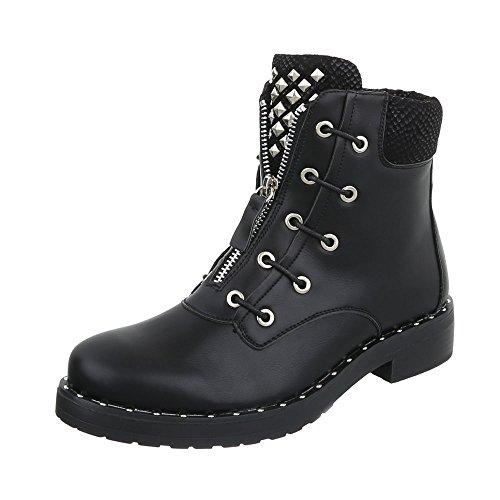 Chaussures femme Bottes et bottines Bloc Western- & Bikerbottes Ital-Design Noir yJbCluU