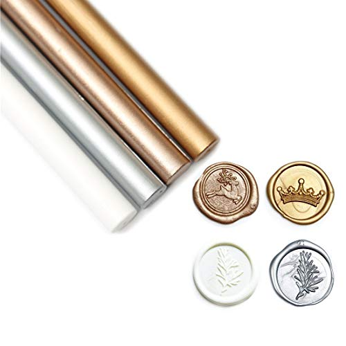 UNIQOOO Arts & Crafts Pack of 8 Metallic Gold Silver White Glue Gun Sealing Wax Sticks for Wax Seal Stamp, Great for Cards Envelopes, Wedding Invitations, Wine Packages, DIY Project, Christmas Gift