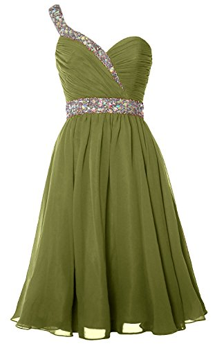Olive Homecoming MACloth Short Gorgeous Party Dress Gown Green One Formal Shoulder Prom qwwBpfS4