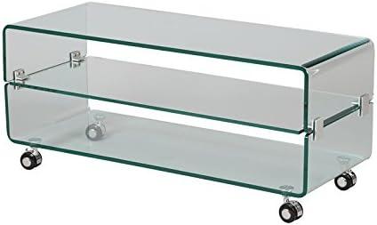 Mueble TV cristal sobre ruedas – Clean – L 100 x L 40 x H 44 ...