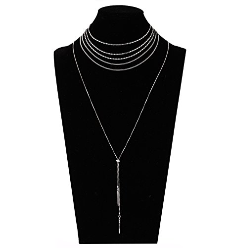 Layered Flat Chain Choker Necklace Set Simple Bar Pendant Beaded Tassel Necklace Boho Separable Y Necklace for Women (Silver)