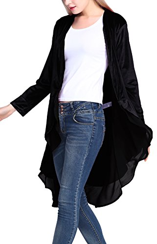Chiffon Velvet Skirt - Urban CoCo Women's Long Sleeve Velvet Cardigan Coat with Asymmetric Chiffon Hem(L, Black)