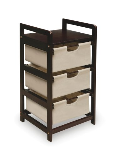 Wooden Hamper/Storage Organizing Unit with 3 Cloth Drawers (Nursery Clothing Hamper)