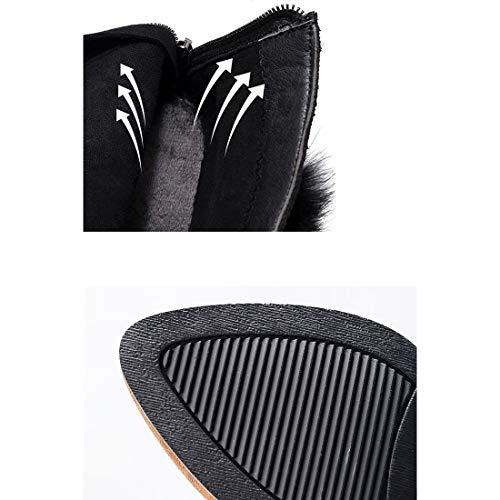 Pelle Inverno Donna Marrone Nero Scarpe Autunno Sera In E Stivaletti Moda Da Zipper Sposa Punta amp; Scamosciata Yan A wSxRI8qg