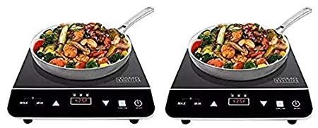 Cosmo Portable Electric Induction Cooktop with Rapid Heating, Sensor LED Display, Safety Lock, Energy Efficient Countertop Stove Single Burner, 1800-Watt, COS-YLIC1 ((2.Units))