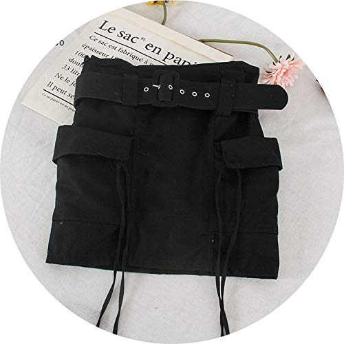 (Pockets Cargo Summer Short Skirts Women High Waist Vintage Skirt Sash Skirt,Black,M)