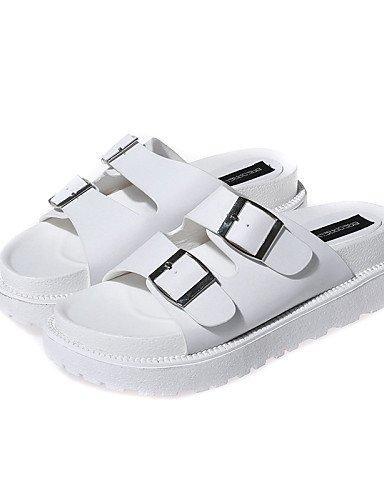 LFNLYX Zapatos de mujer-Tacón Plano-Creepers / Gladiador / Punta Redonda / Punta Abierta-Sandalias-Casual-Sintético-Negro / Blanco Black