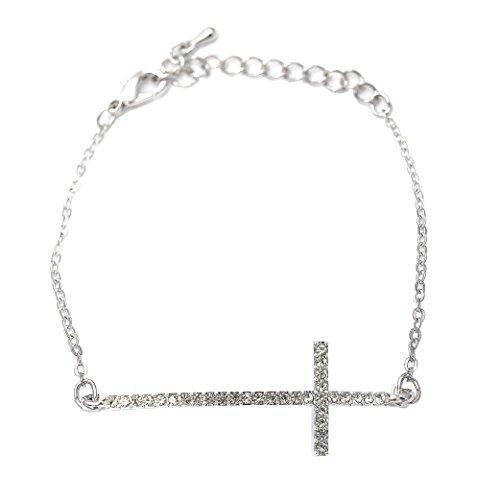 Sideways Crystal Cross Fashion (Spinningdaisy Silver Plated Crystal Sideways Cross Adjustable)